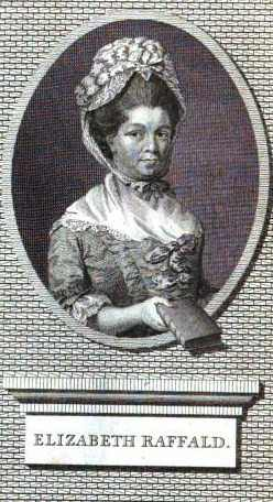Engraving of Elizabeth Raffald, from the 1786 edition of The Experienced English Housekeeper.
