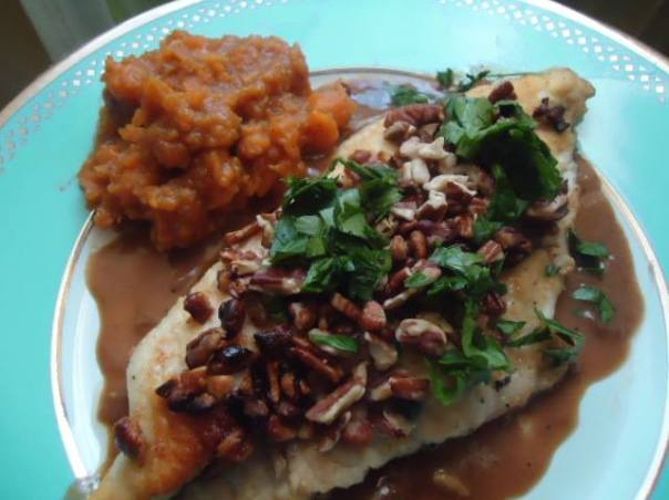 Pecan Crusted Catfish with Creole Meuniere Sauce and Sweet Potato Mash