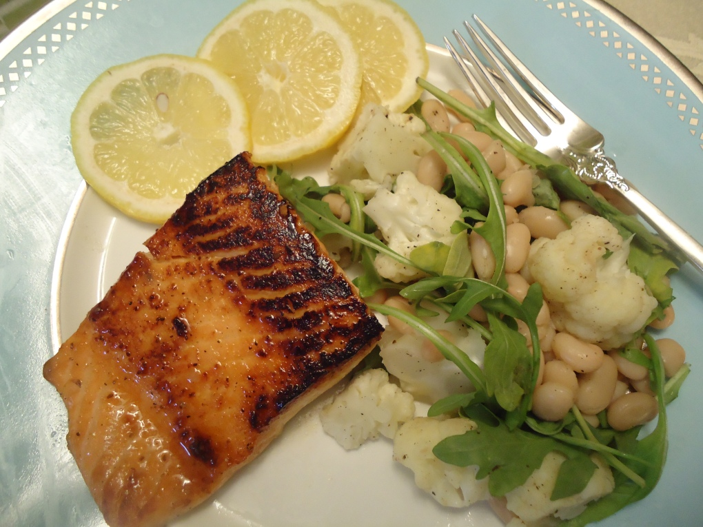 Brown Sugar Crusted  Salmon with Cauliflower, White beans, and Arugula