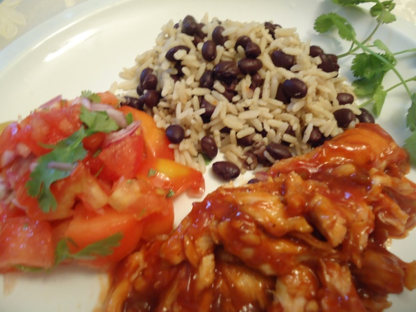 Spicy Pulled Barbecue Chicken with Pico de Gallo and Brown Rice and Black Beans