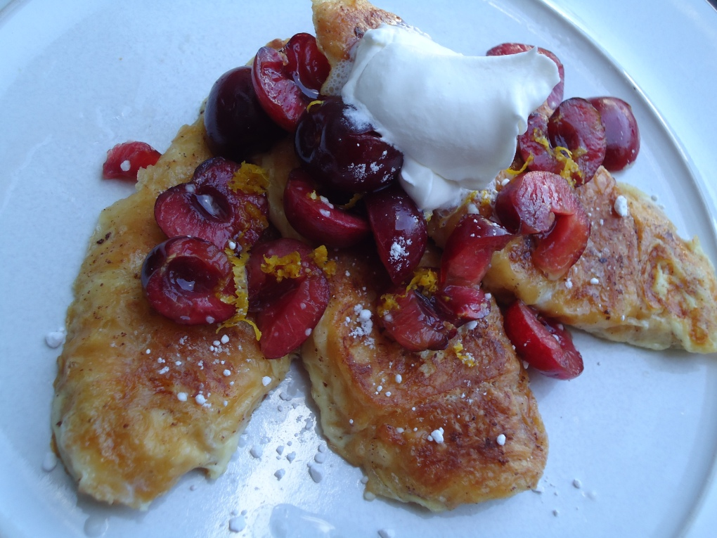 Mini Crossiant French Toast with Fresh Cherries
