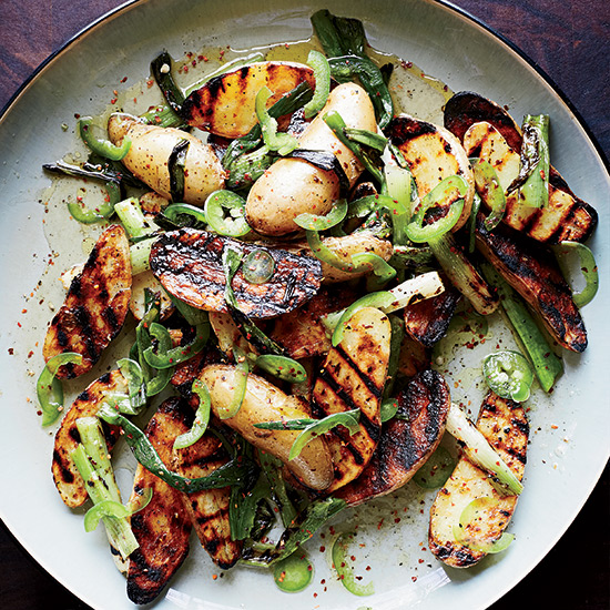 Grilled Potato Salad with Scallion Vinaigrette. Photo Credit: Christina Holmes   © 2014.