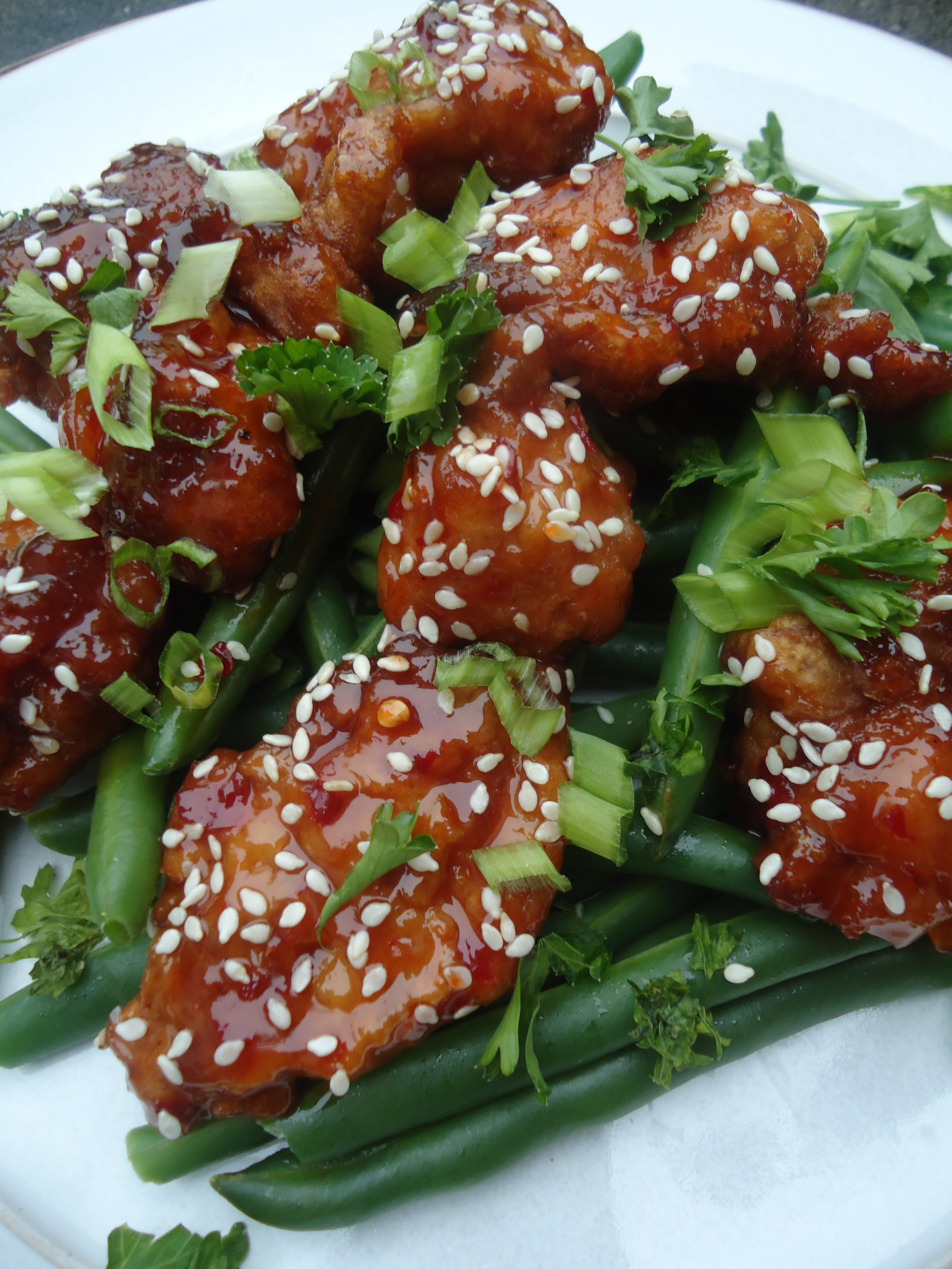 Sesame chicken and green beans on the menu tangies kitchen this dish is version of the classic chinese dish mala jiding where crispy chunks of deep fried battered chicken in a sweet sour and savory glaze packed forumfinder Images